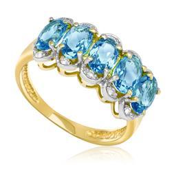 Meia Aliança com 10 Diamantes e 5 Topázios Azuis, em Ouro Amarelo