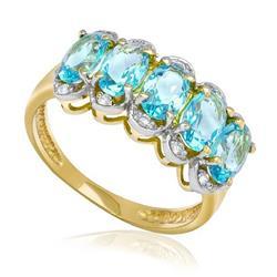 Meia Aliança com 10 Diamantes e 5 Cristais de Topázio Sky Blue, em Ouro Amarelo