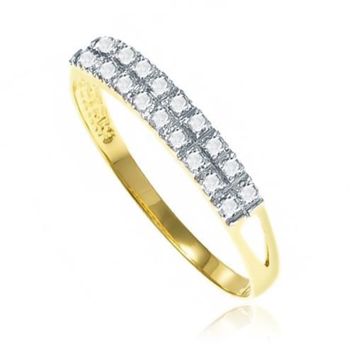 Meia Aliança com 20 Diamantes Totalizando 20 Pts¸ em Ouro Amarelo