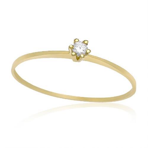 Anel Solitário com Diamante de 5 Pts, em Ouro Amarelo