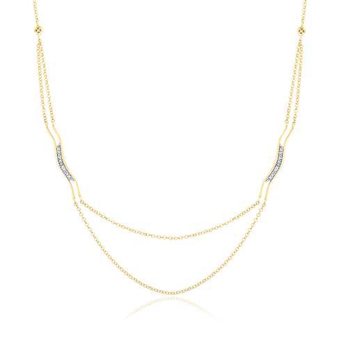 Colar Estilizado com 14 Diamantes, em Ouro Amarelo