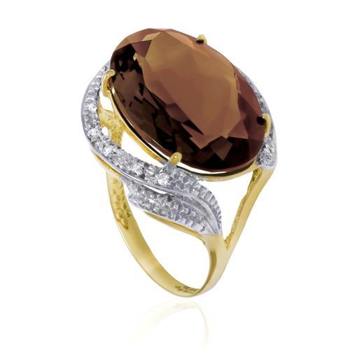 Anel com 8 Diamantes e Quartzo Fume Oval, em Ouro Amarelo