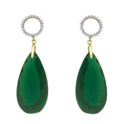 Par de Brincos com 46 Diamantes e Blue Green, em Ouro Amarelo