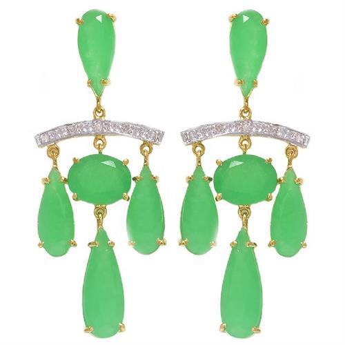 Par de Brincos com 10 Diamantes e Jade Totalizando 17 Cts¸ em Ouro Amarelo com Detalhes em Ródio
