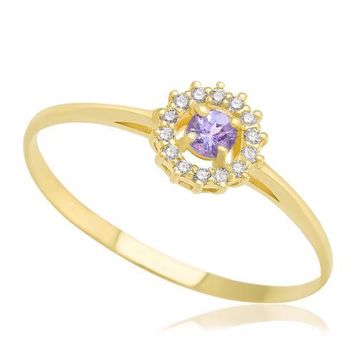 Anel com Tanzanita central e 14 Diamantes, em Ouro Amarelo