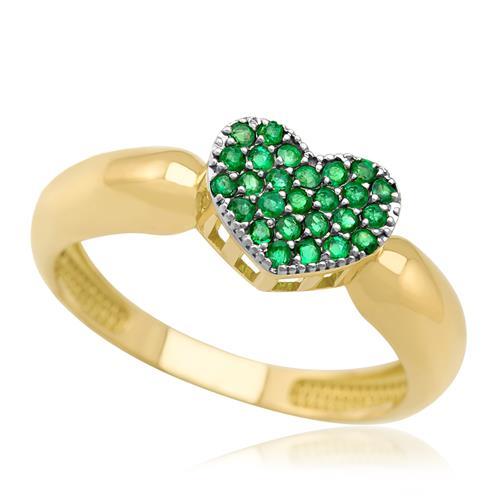 Anel Chuveiro Coração com 26 Esmeraldas, em Ouro Amarelo