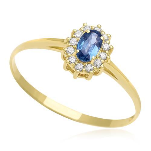 Anel com Safira central e 12 Diamantes, em Ouro Amarelo