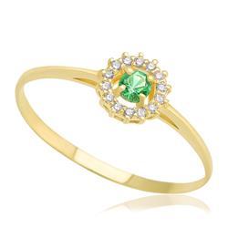 Anel com Esmeralda e 14 Diamantes, em Ouro Amarelo