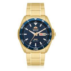 Relógio Masculino Orient Automático 469GP063 D1KX Dourado com Fundo Azul