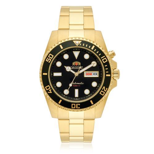 Relógio Masculino Orient Automático 469GP066 P1KX Dourado fundo Preto