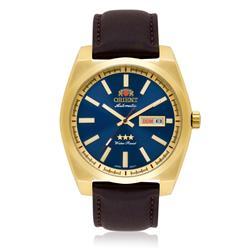 Relógio Masculino Orient Automático 469GP069 D1NX Dourado com Couro Marrom