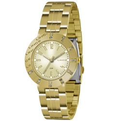 Relógio Feminino Lince Analógico LRG4318L K138 Aço Dourado com cristais