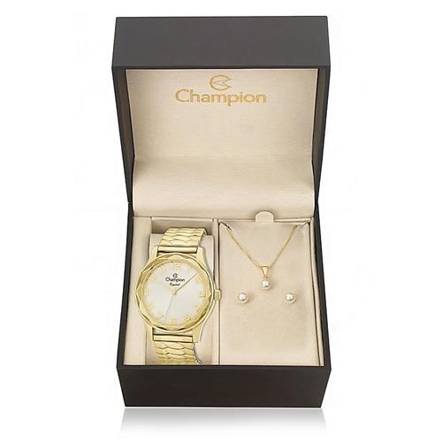 Relógio Feminino Champion Crystal CN27885W Kit com Colar e Par de Brincos
