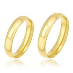 Par de Alianças modelo Tradicional trabalhadas em Ouro Amarelo