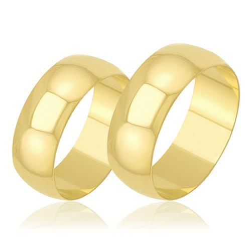 Par de Alianças Planas Clássicas em Ouro Amarelo