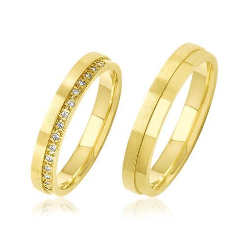 Par de Alianças com Aro Duplo e 15 Diamantes, em Ouro Amarelo