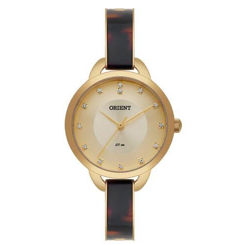 Relógio Feminino Orient Analógico FTSS0037 C1KM Dourado com Cristais e Acetato