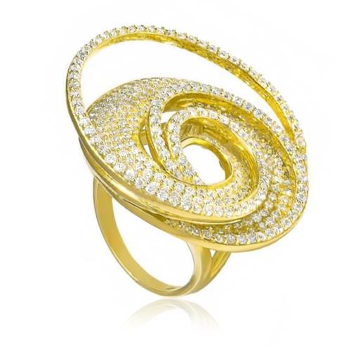 Anel Espiral Trabalhado com Cristais, Folheado a Ouro Amarelo