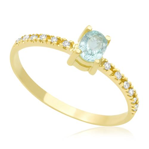 Anel com Turmalina Paraiba central com Diamantes, Ouro Amarelo