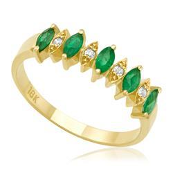 Meia Aliança de Esmeraldas navetes e Diamantes, ouro amarelo