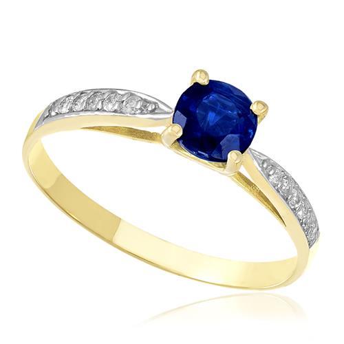 Anel com 12 Diamantes e Safira Central, em Ouro Amarelo
