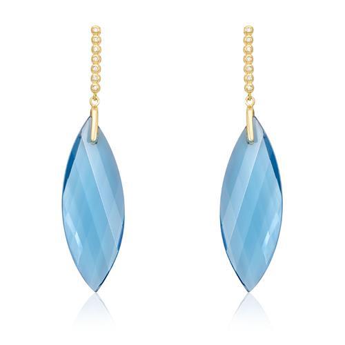Par de Brincos Navete com Topázios Azuis e 14 Diamantes, em Ouro Amarelo