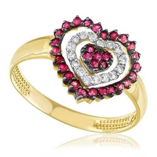 Anel Coração com 30 Rubis e 16 Diamantes, em Ouro Amarelo