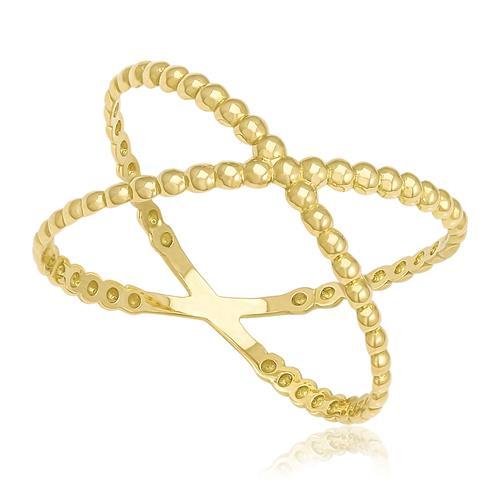 Anel X com esferas trabalhado em Ouro Amarelo