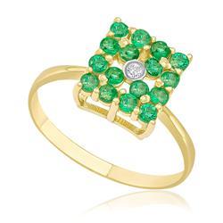 Anel Chuveiro Quadrado com 16 Esmeraldas e 1 Diamante de 2 Pts, em Ouro Amarelo