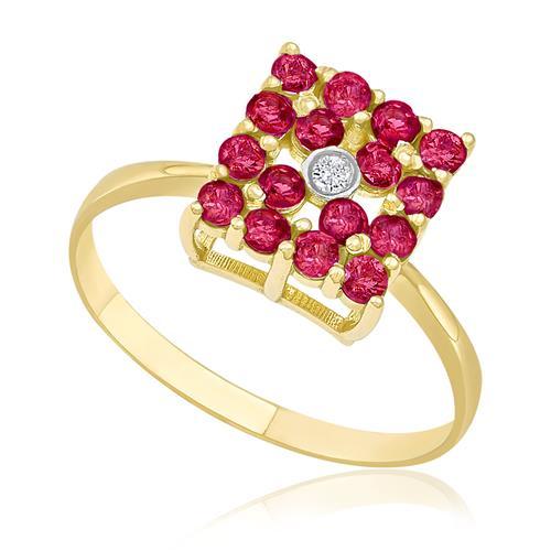 Anel Chuveiro Quadrado com 16 Rubis e 1 Diamante de 2 Pts, em Ouro Amarelo