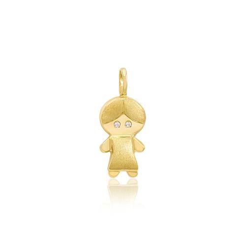 Pingente Menino com 2 Diamantes, em Ouro Amarelo