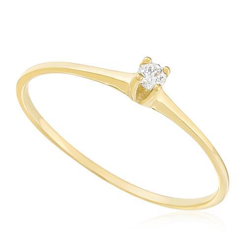 Anel Solitário com Diamante de 4 pts., em Ouro Amarelo