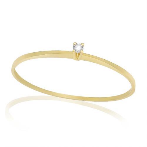Anel Solitário com Diamante de 5 pts., em Ouro Amarelo