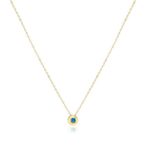 Pingente Ponto de Luz com Diamante Azul de 5 pts. e Corrente em Ouro Amarelo