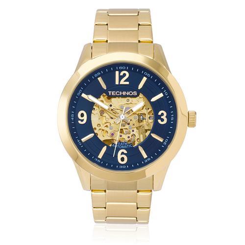 Relógio Masculino Technos Esqueleto Automático 8N24AG/4A- Fundo Azul