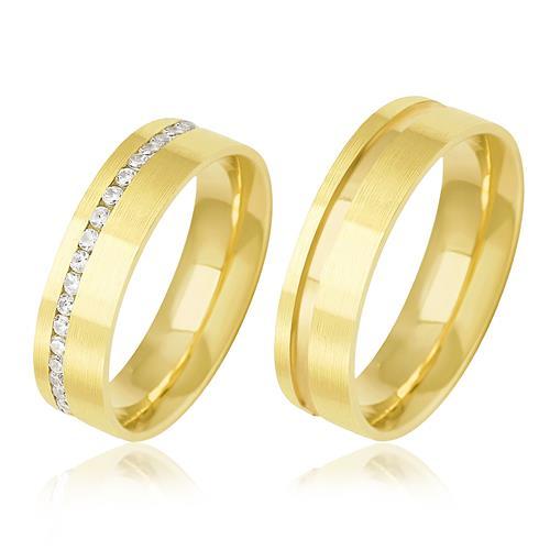 Par de Alianças Anatômicas com 18 Diamantes, em Ouro Amarelo