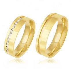 Par de Alianças Frisadas com 18 Diamantes, em Ouro Amarelo