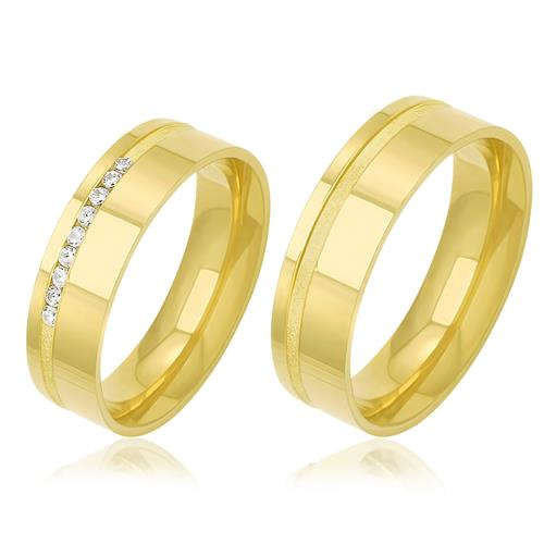 Par de Alianças Retas Frisadas com 9 Diamantes, em Ouro Amarelo