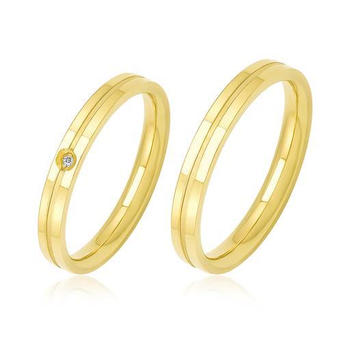 Par de Alianças Duplas com Diamante trabalhadas em Ouro Amarelo