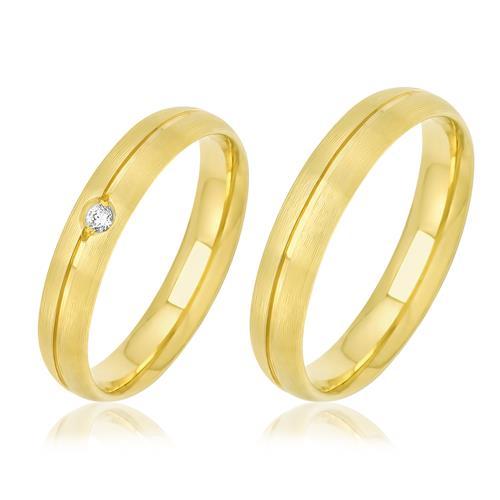 Par de Alianças Duplas Anatômicas com Diamante, em Ouro Amarelo