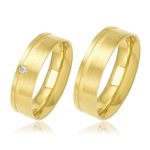 Par de Alianças Frisadas com 1 Diamante, em Ouro Amarelo