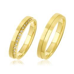 Par de Alianças Duplas com 15 Diamantes, em Ouro Amarelo