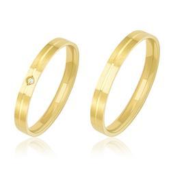 Par de Alianças Retas Duplas com 1 Diamante, em Ouro Amarelo