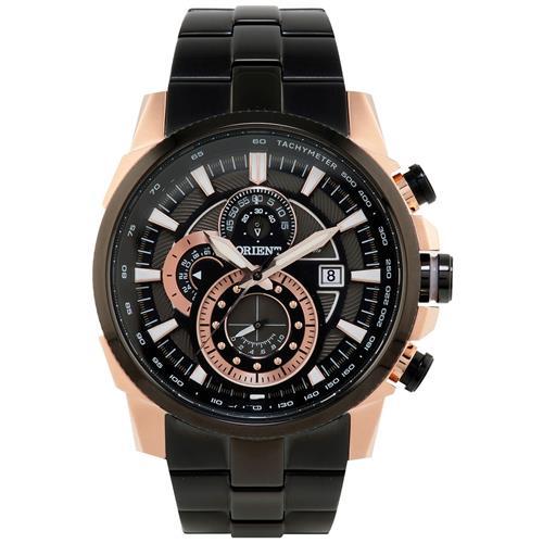 Relógio Masculino Orient Analógico MTSSC009 P1PX Aço Negro com Rose