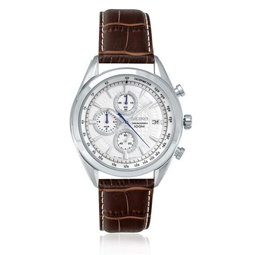 Relógio Masculino Seiko Chronograph Analógico SSB181B1 B1MB Couro Marrom