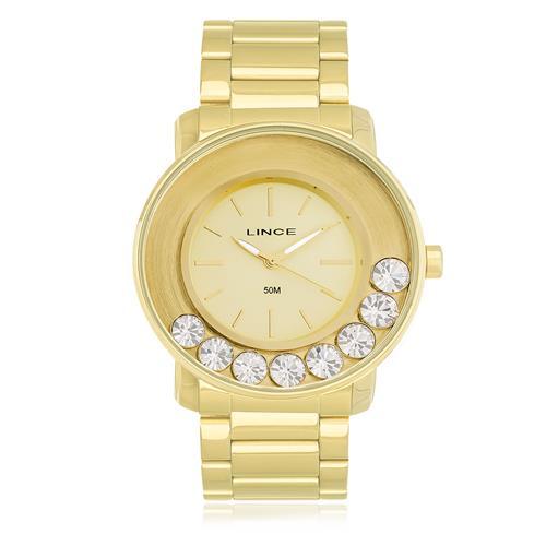 Relógio Feminino Lince Analógico LRG607L C1KX Dourado com Cristais
