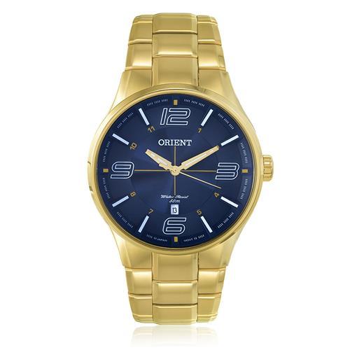 Relógio Masculino Orient Analógico MGSS1136 D2KX Aço Dourado fundo Azul