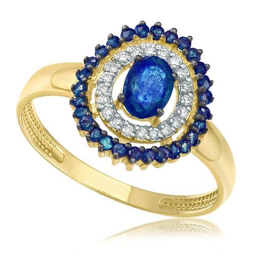 Anel com 20 Diamantes e Safiras totalizando 90 pts, em Ouro Amarelo