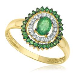 Anel com 20 Diamantes e Esmeraldas totalizando 90 Pts, em Ouro Amarelo