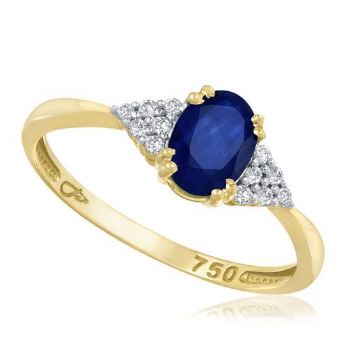 Anel com Safira Oval e 12 Diamantes, em Ouro Amarelo